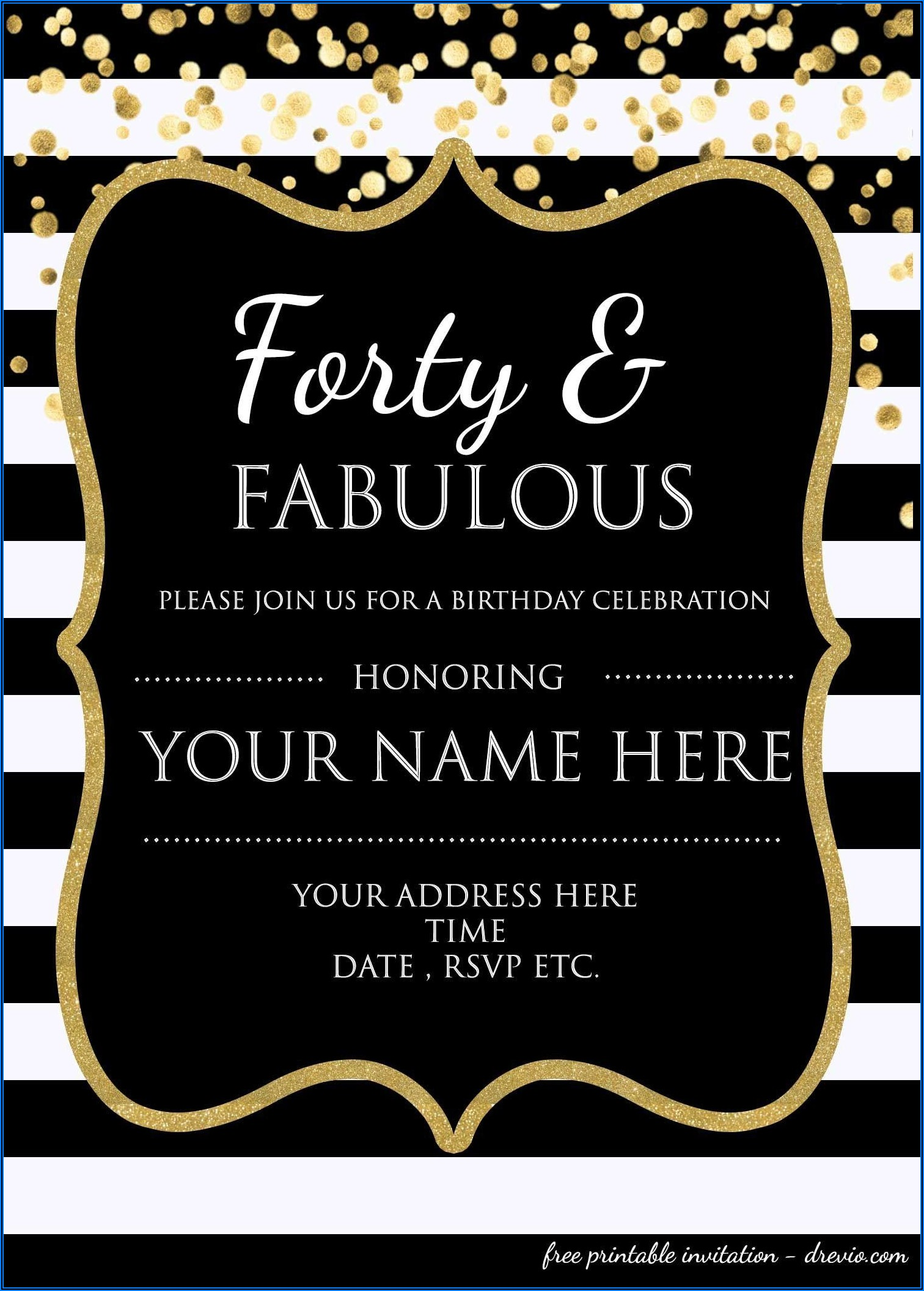 40th Surprise Birthday Party Invitations