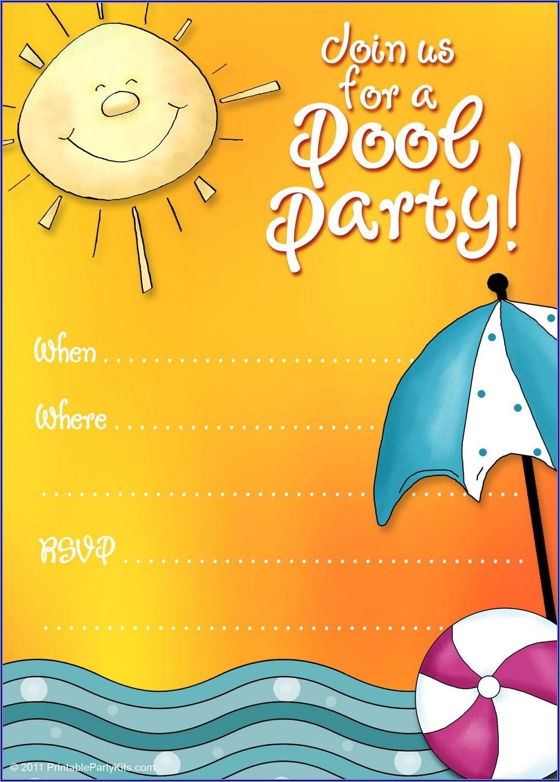 5th Birthday Pool Party Invitation Templates