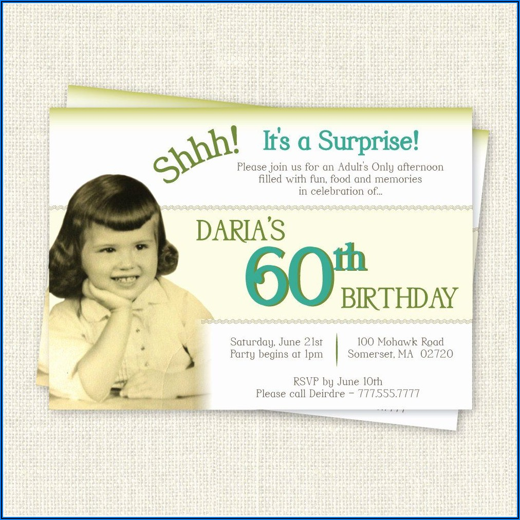60th Surprise Birthday Invitations Template