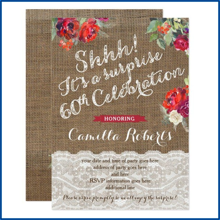 60th Surprise Birthday Party Invites