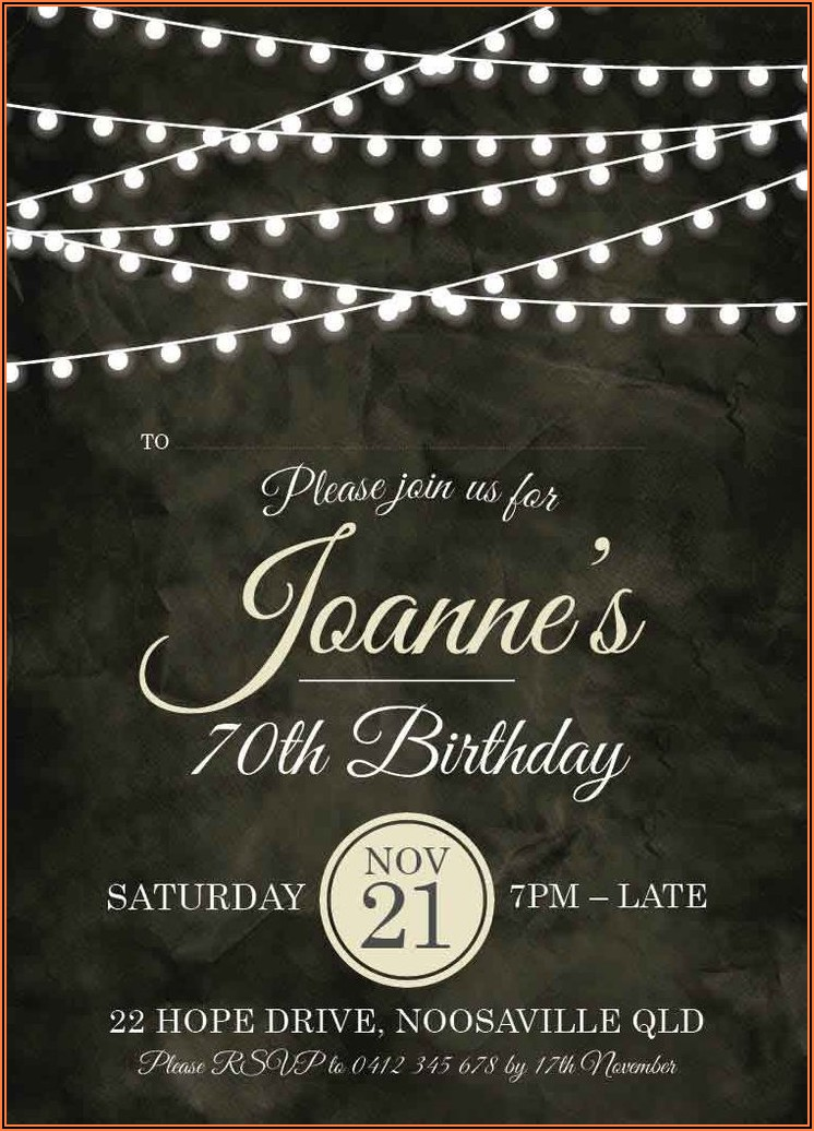 70th Birthday Invitations Australia