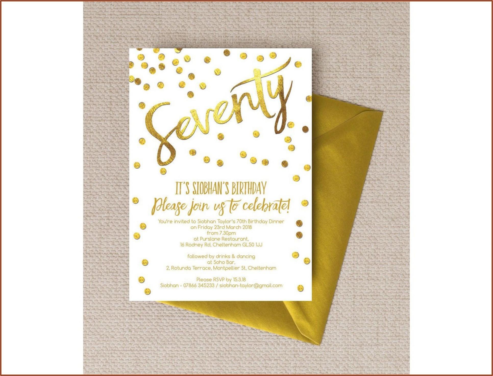 70th Birthday Party Invitation Wording Samples