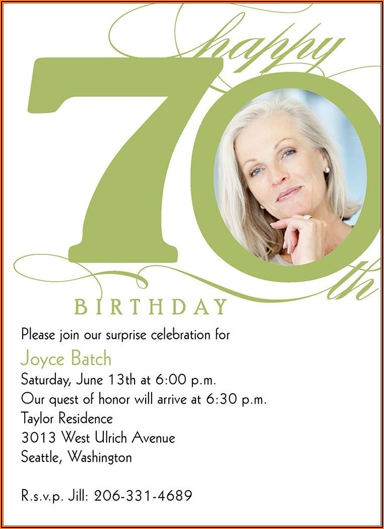 70th Birthday Party Invitations Australia
