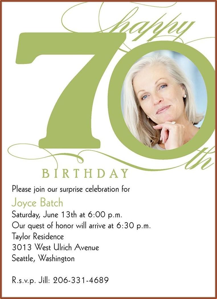 70th Birthday Party Invitations Australia