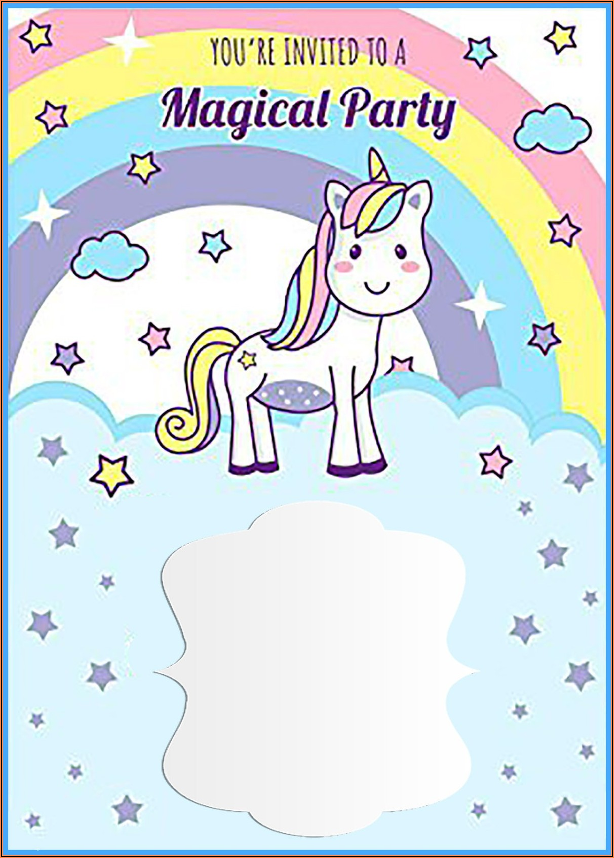 7th Birthday Invitation Layout Unicorn Theme