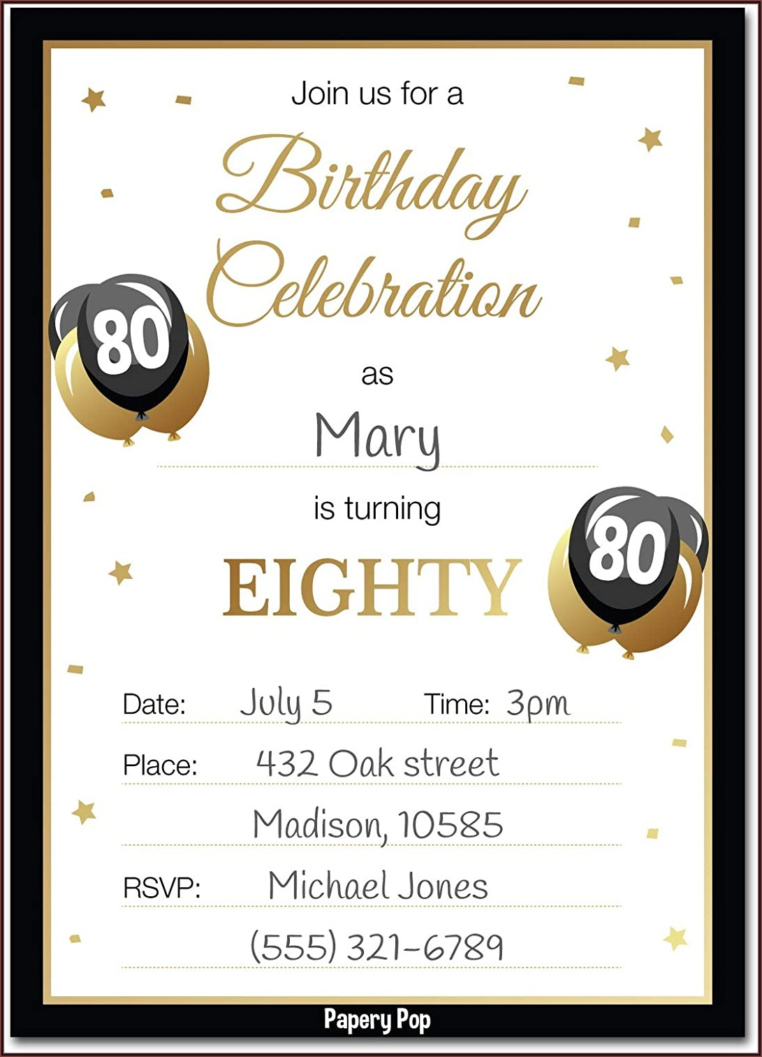 80th Birthday Invitations With Pictures