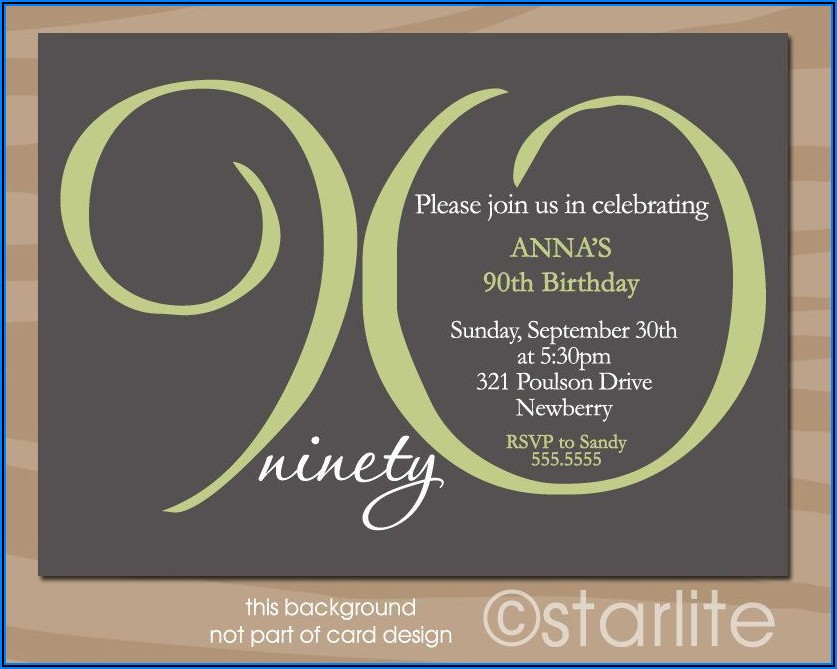 90th Birthday Invitation Card Ideas
