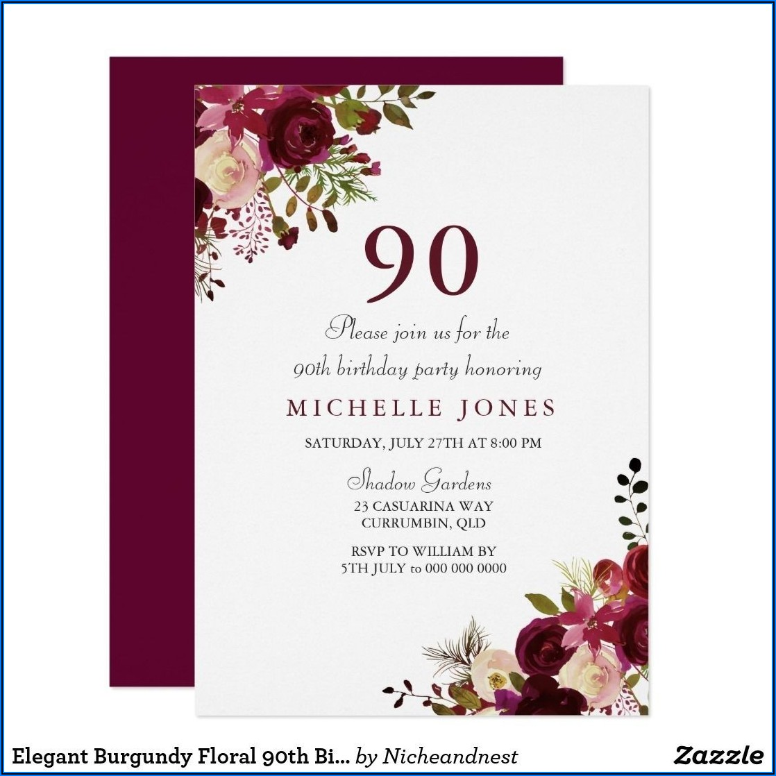 90th Birthday Invitations Ideas