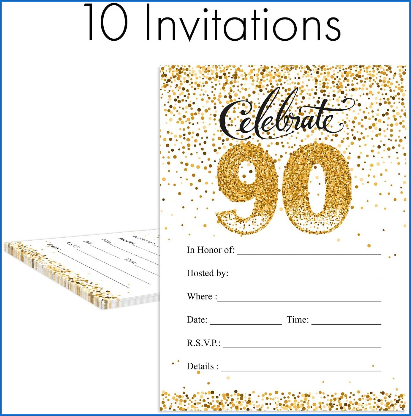 90th Birthday Invitations With Envelopes