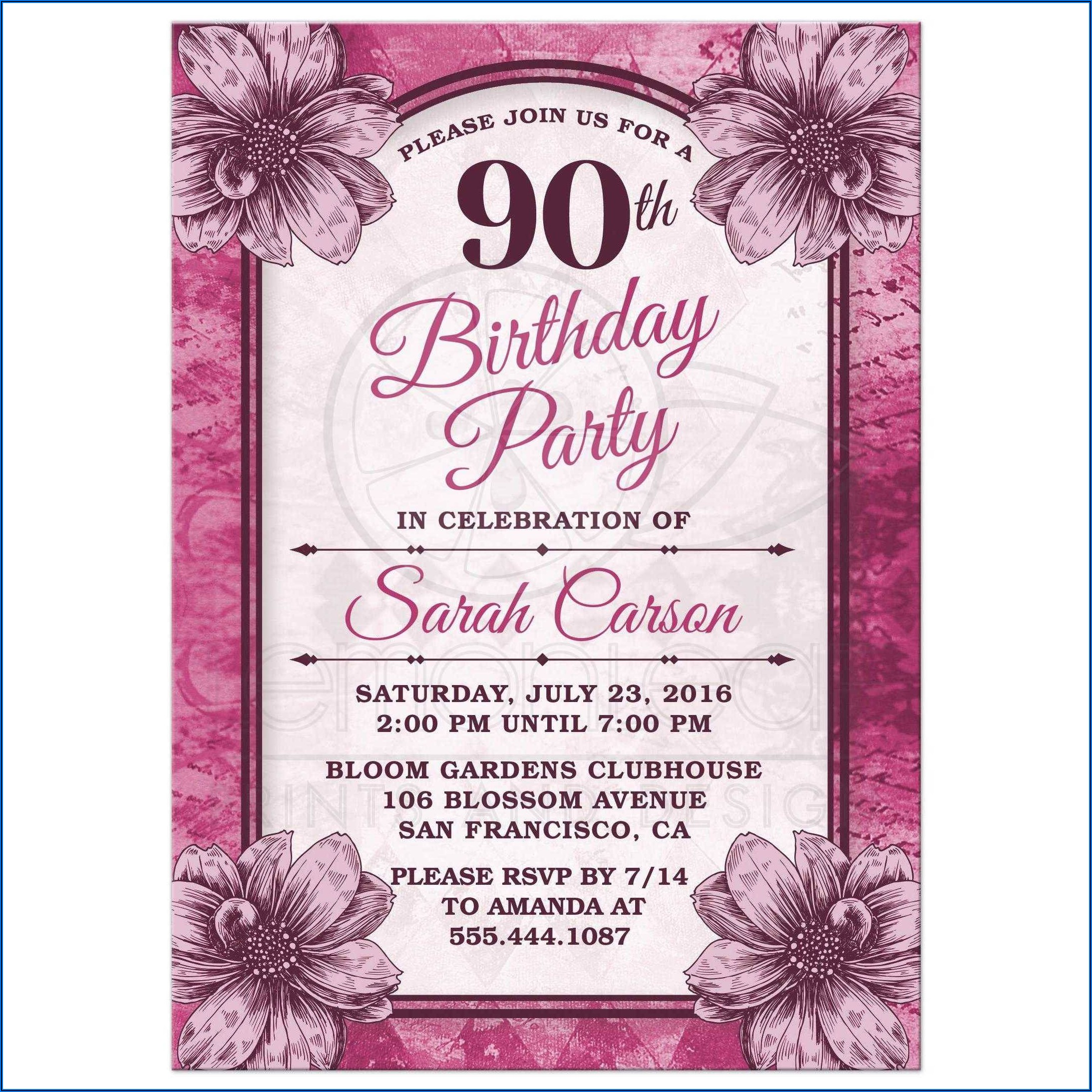 90th Birthday Party Invitations Free