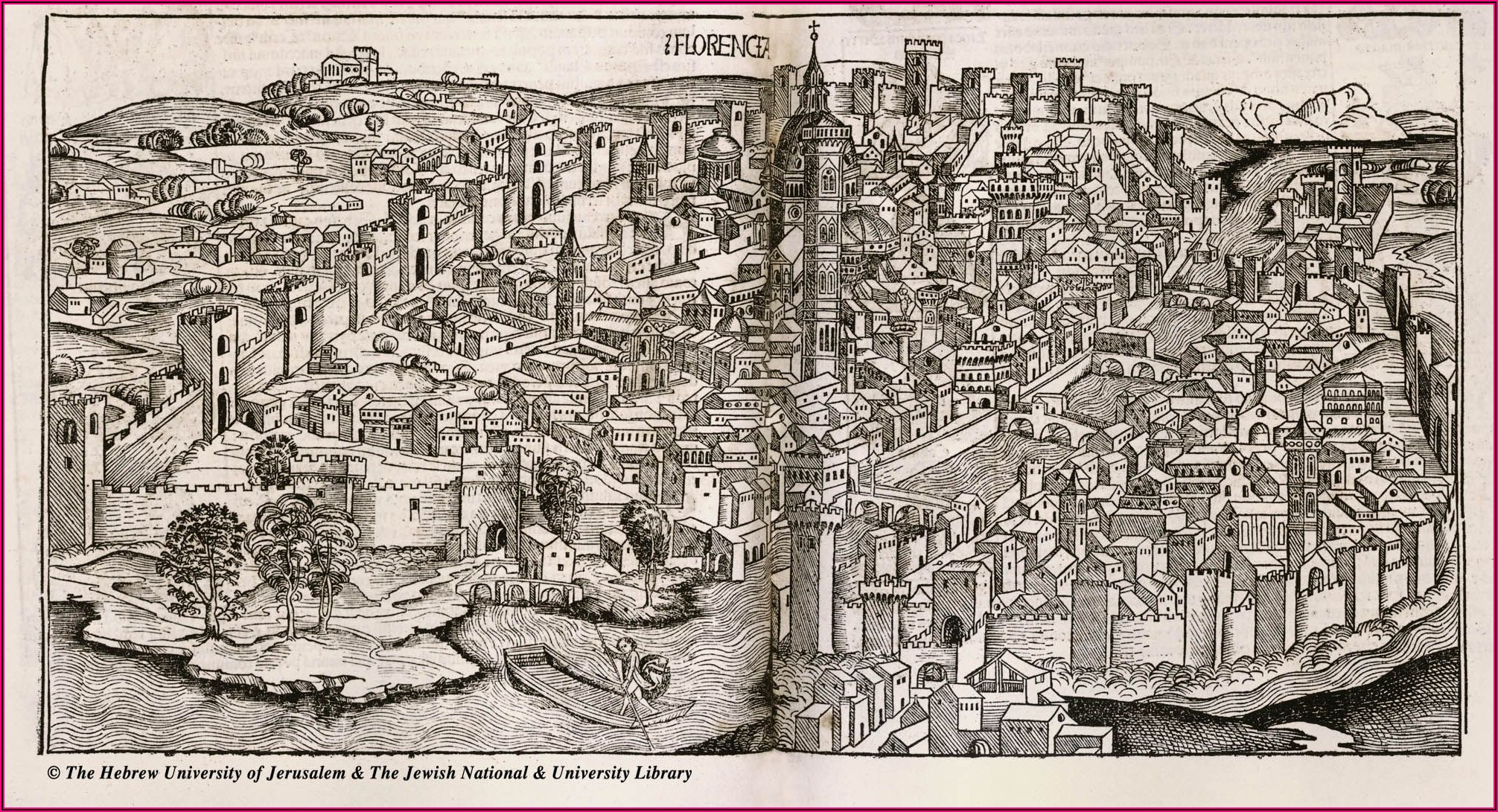 Antique Map Of Florence Italy
