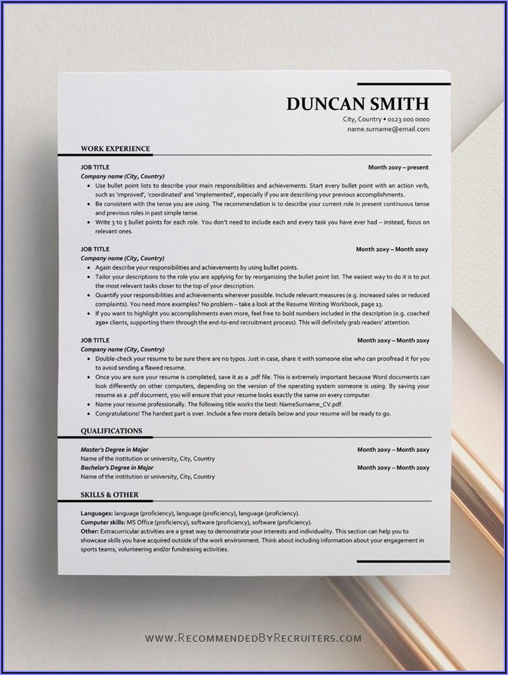 Ats Friendly Resume Template Free Download