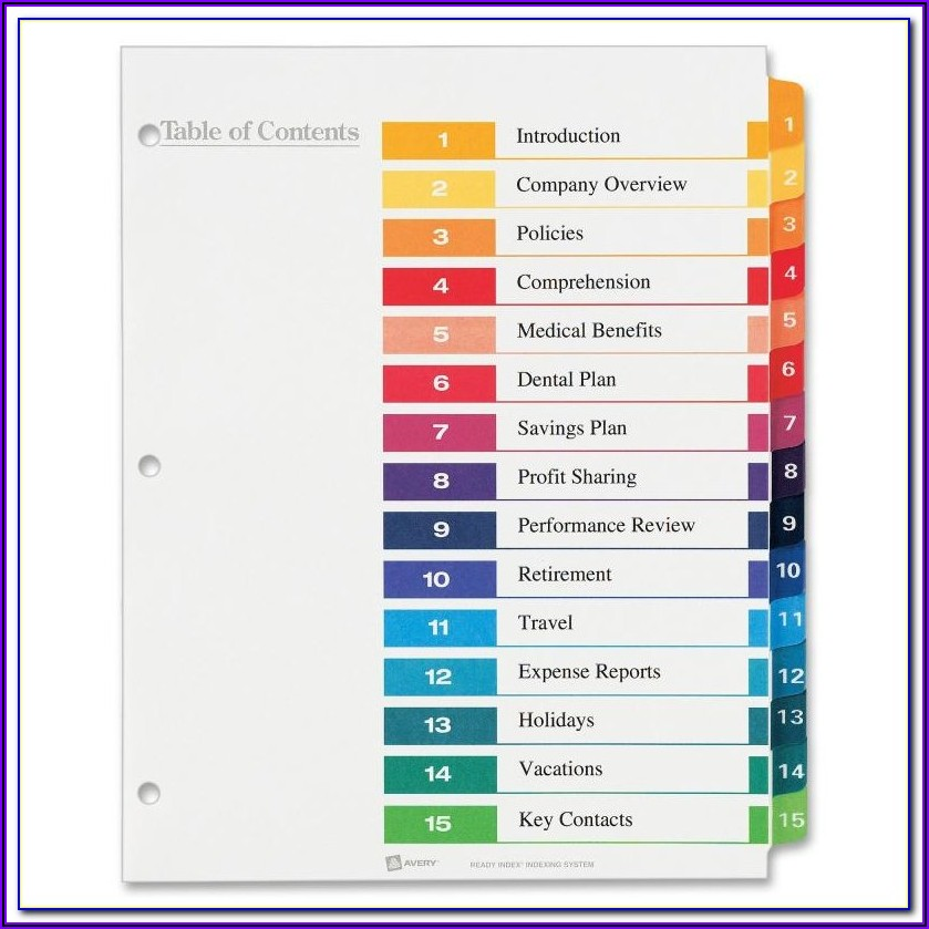 Avery Ready Index Template 12 Tab