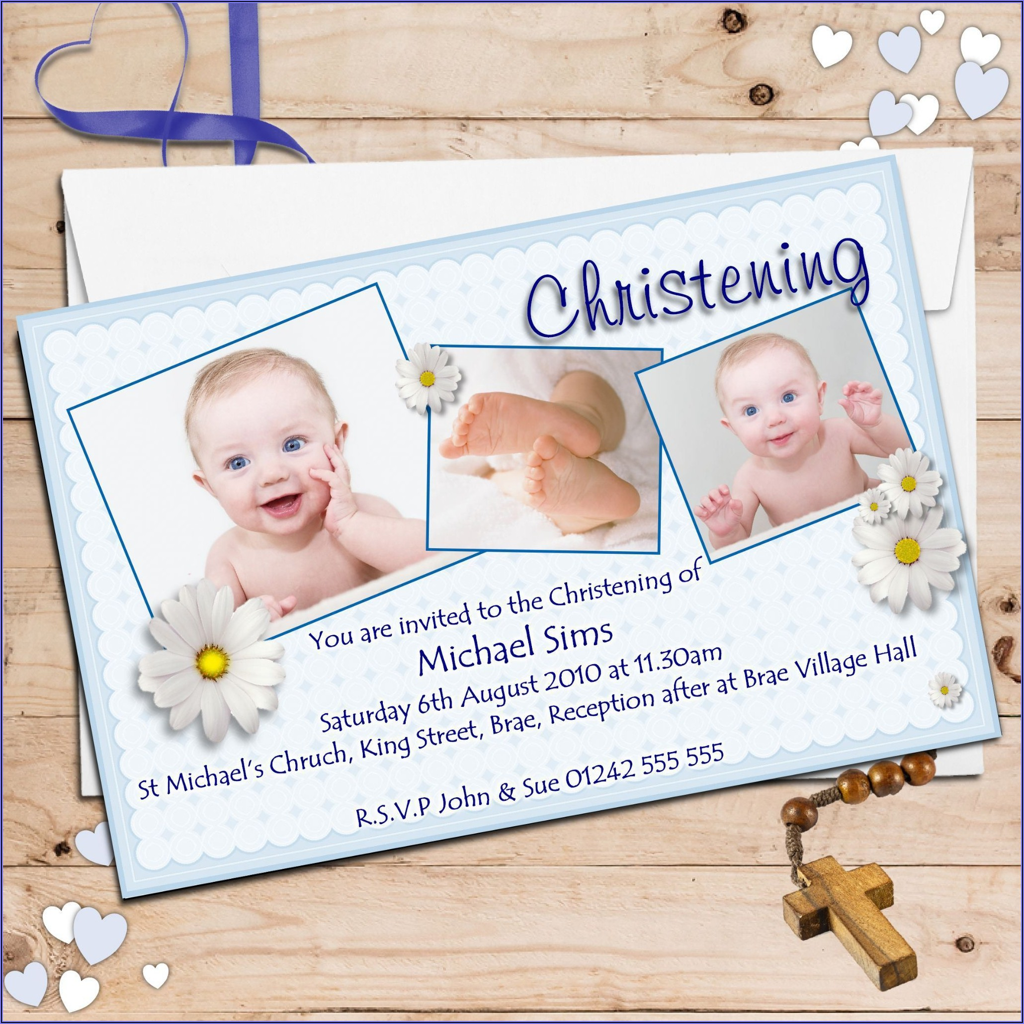 Baby Boy Blank Baptism Invitation Background