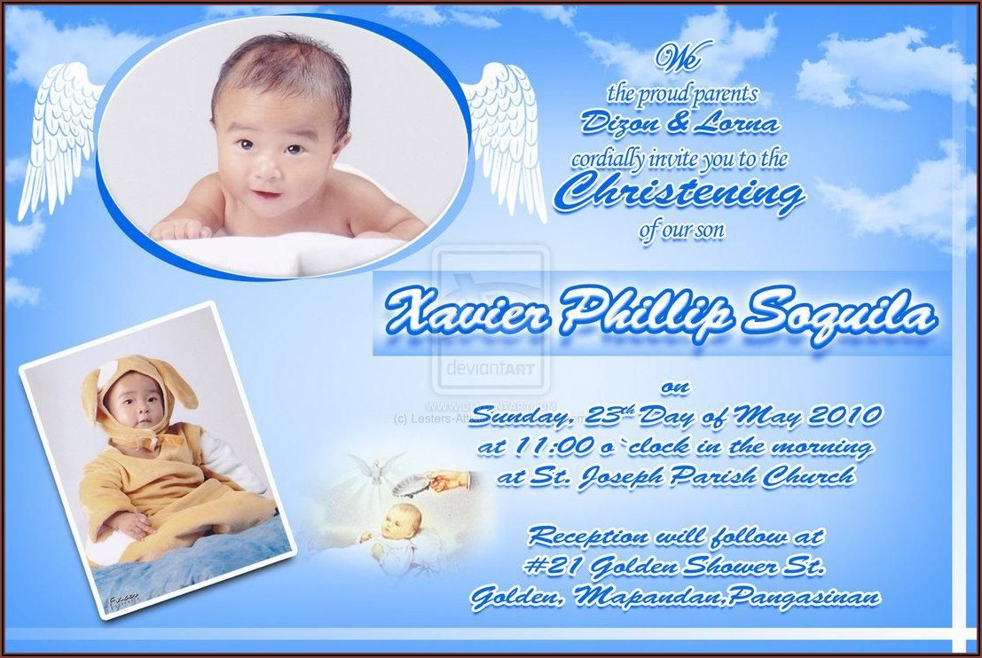 Baby Boy Christening And 1st Birthday Invitation