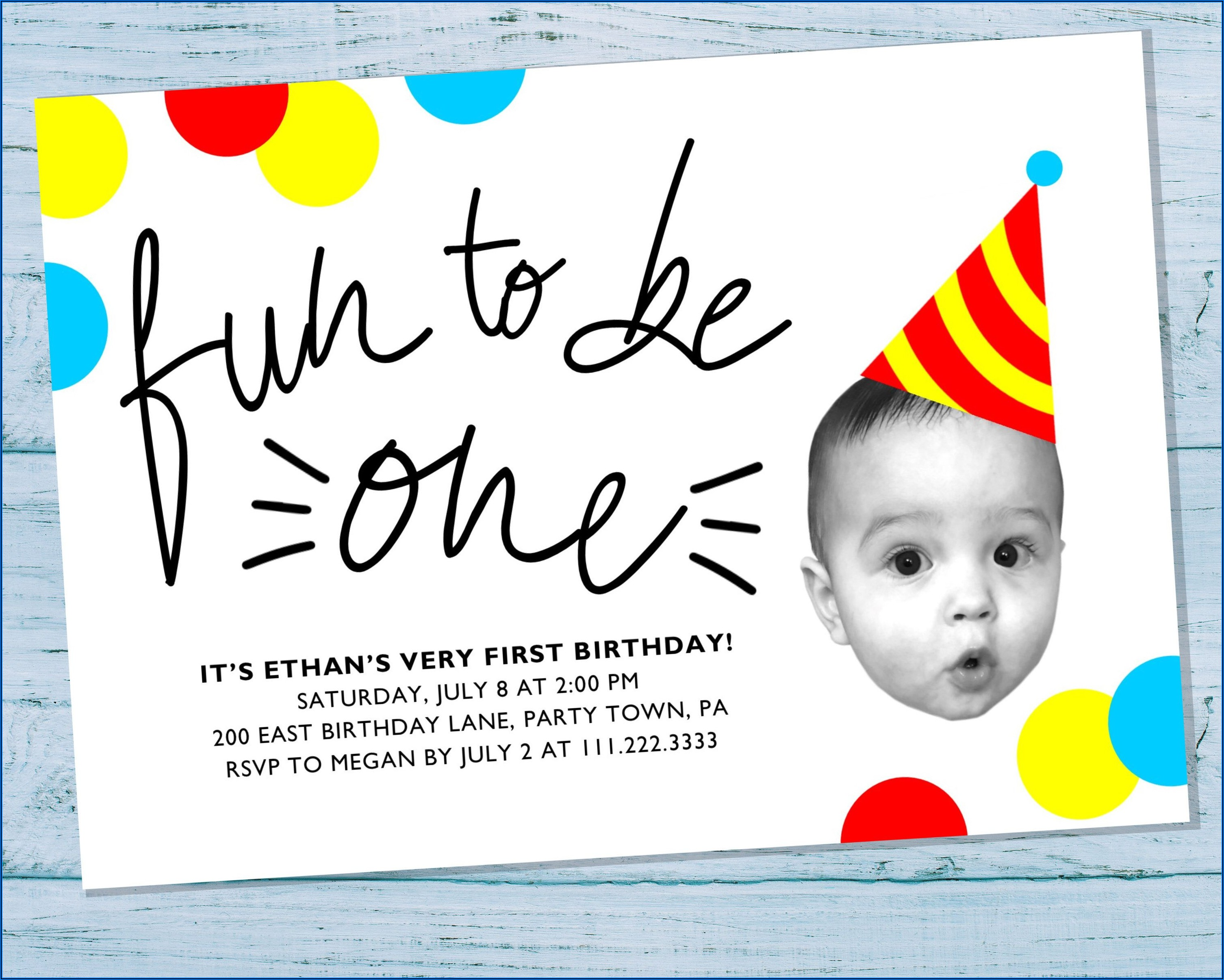 Baby Boy First Birthday Invitation With Photo