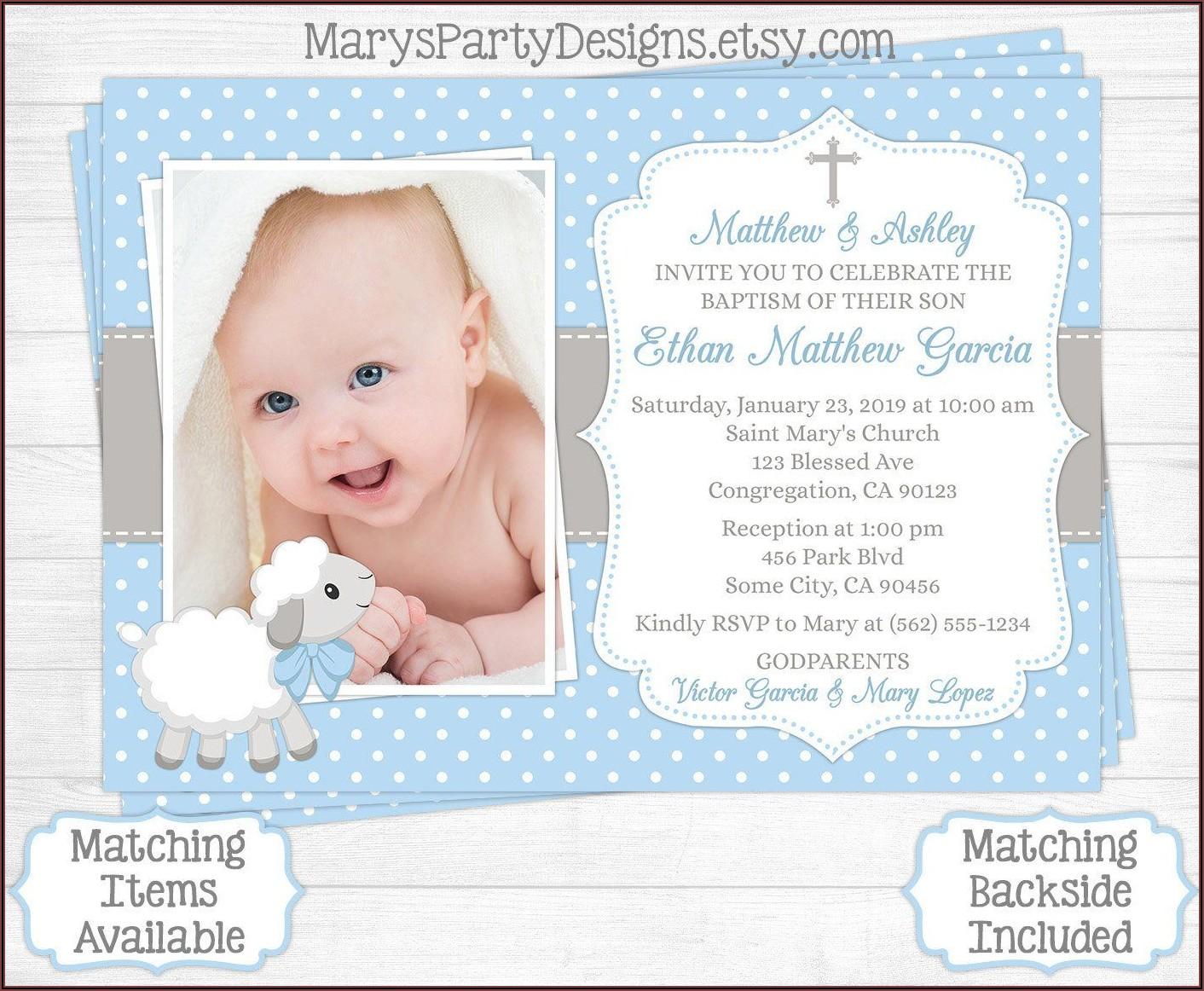 Baby Boy Invitation For Christening