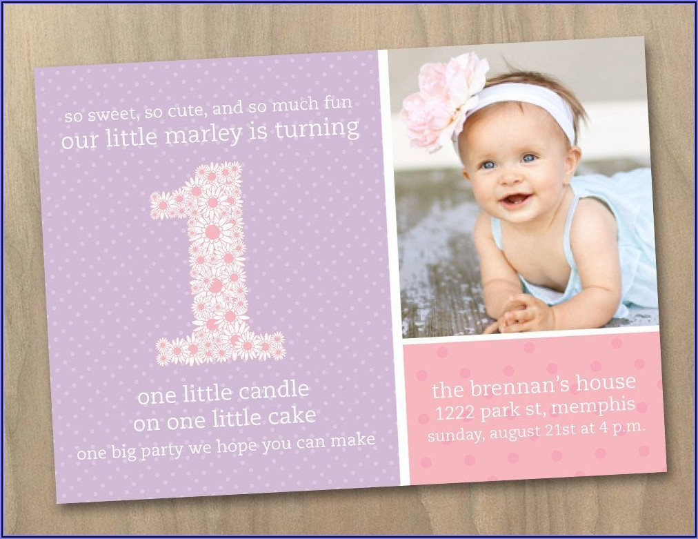 Baby Girl 1st Birthday Online Invitations