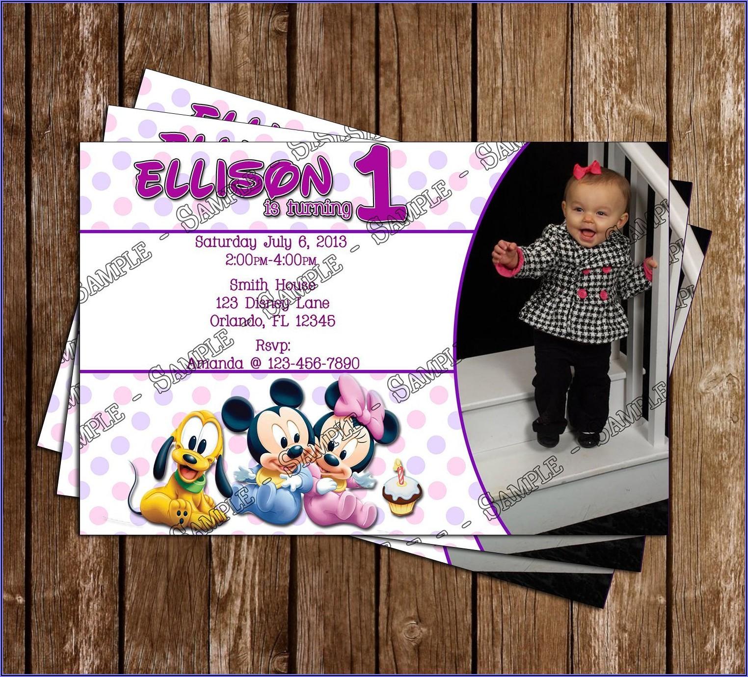 Baby Girl Birthday Invitation Template