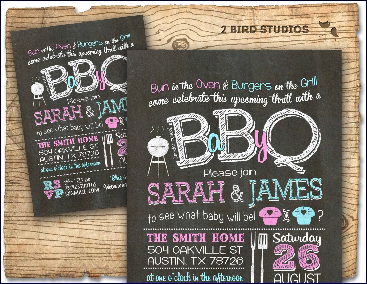 Baby Q Gender Reveal Invitations Free