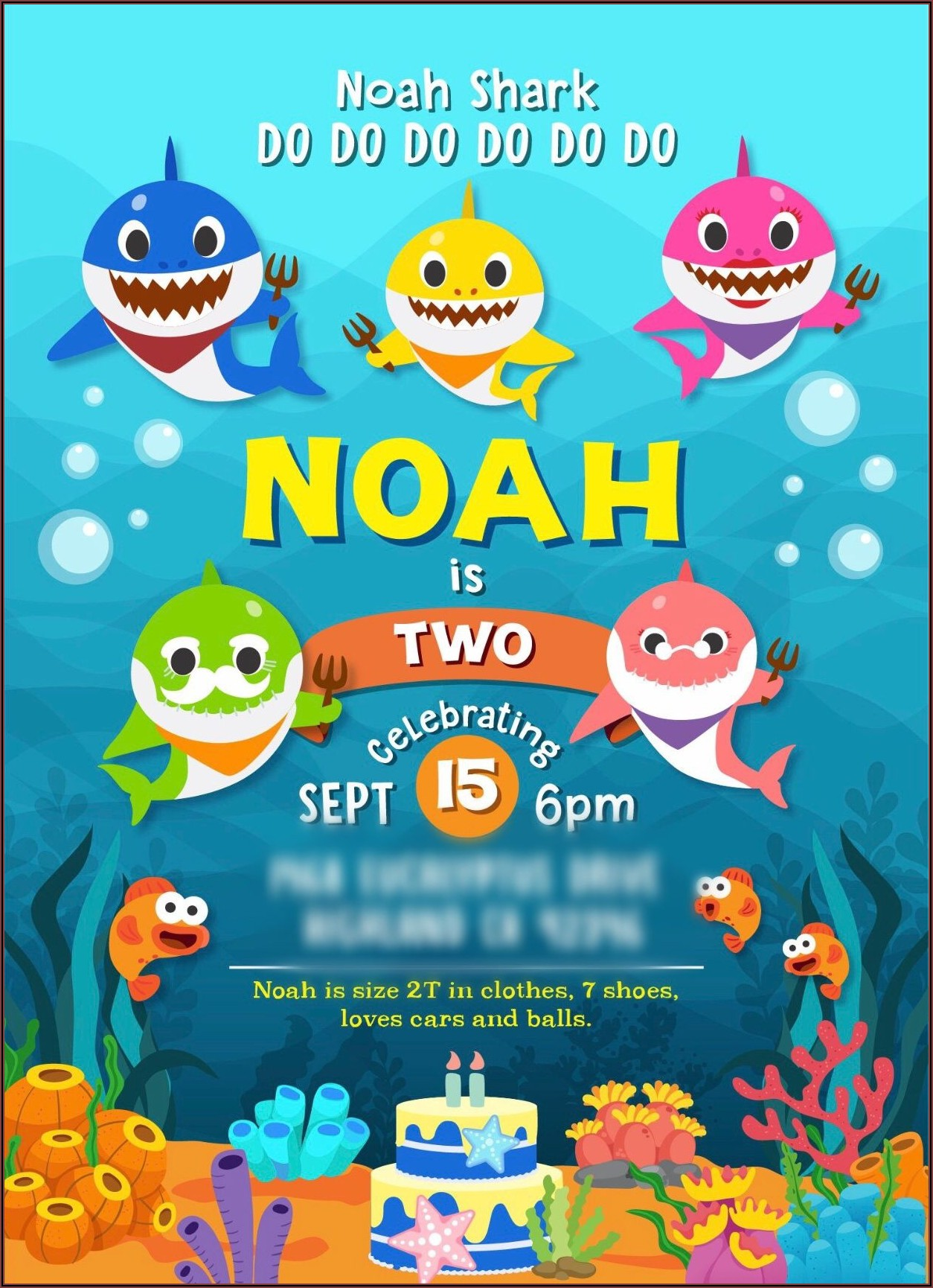 Baby Shark 2nd Birthday Invitation Template