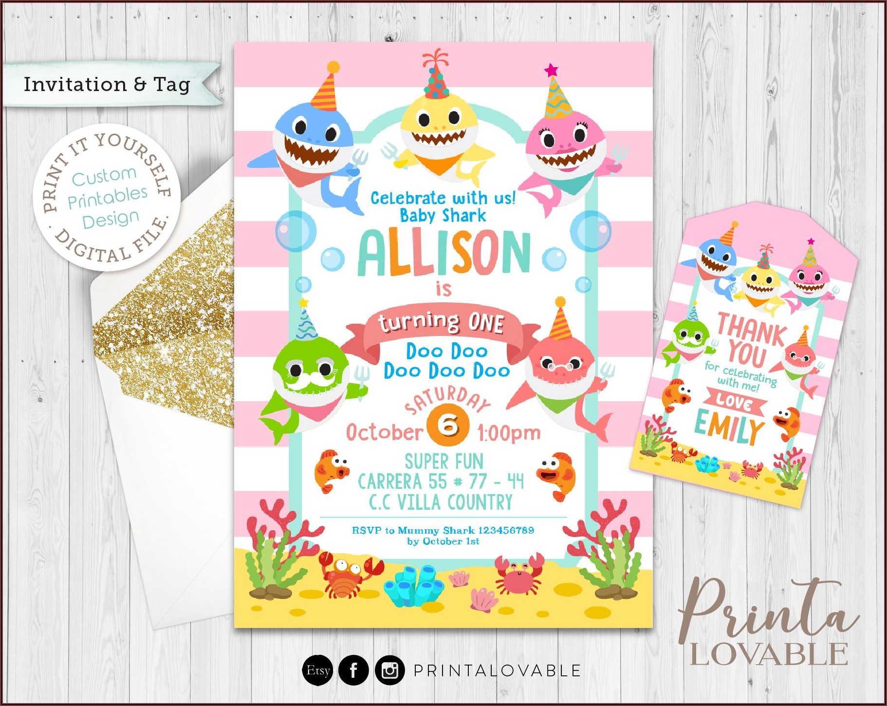 Baby Shark Birthday Invitation Digital