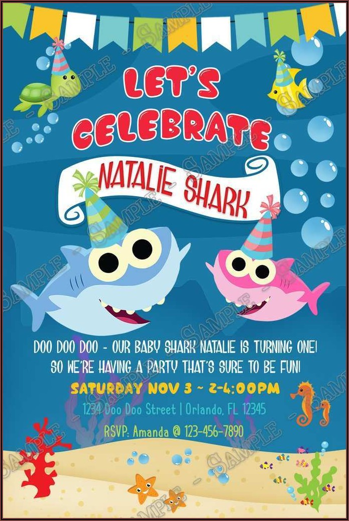 Baby Shark Birthday Invitation Free