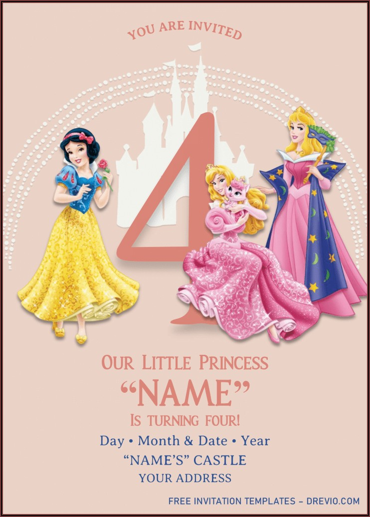 Background Disney Princess Invitation Template