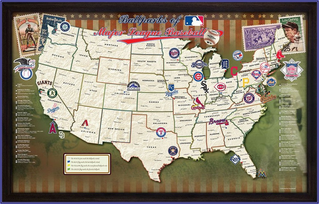 Ballparks Of Major League Baseball Map