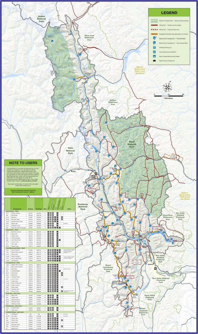 Banff National Park Backcountry Trail Map