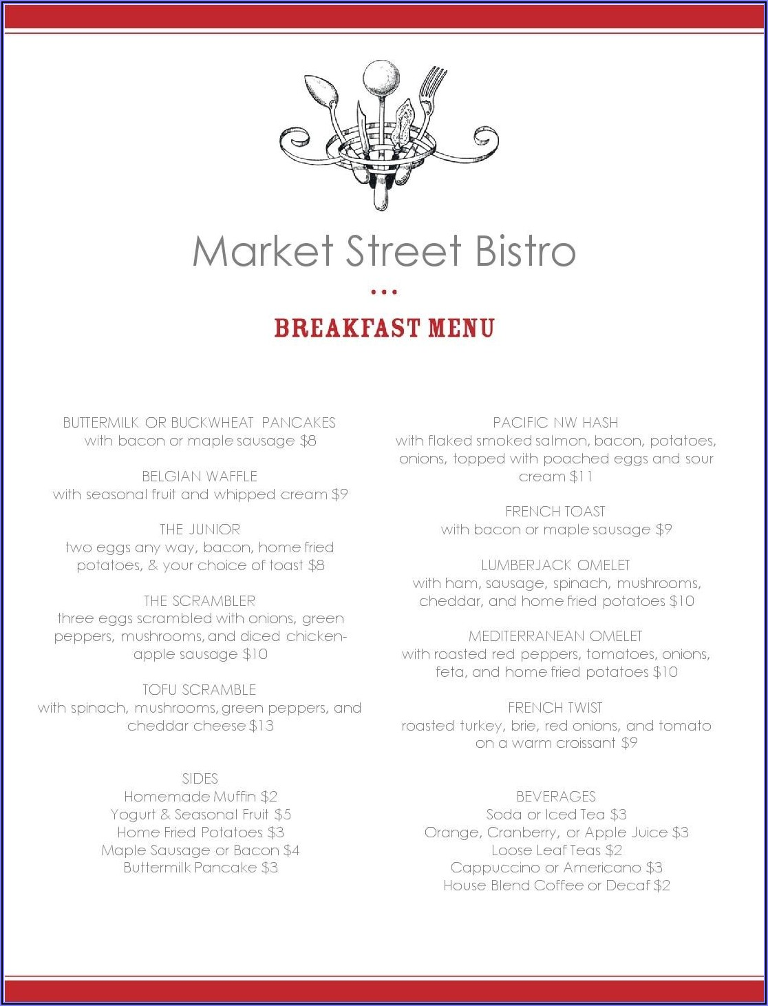 Basic Breakfast Menu Templates Free
