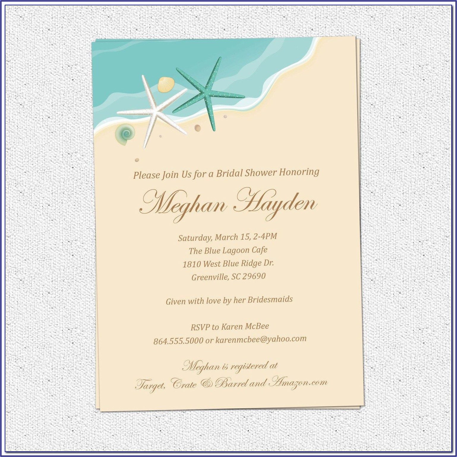 Beach Themed Wedding Invitation Templates Free