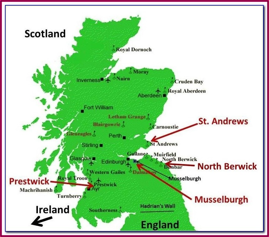 Best Golf Courses Scotland Map