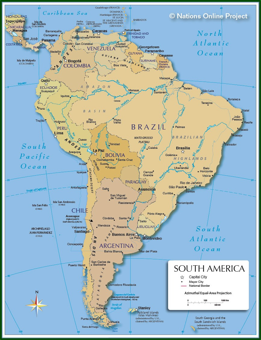 Big Map Of North And South America