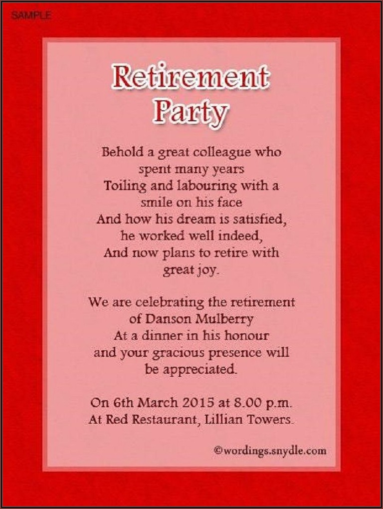 Birthday And Retirement Invitation Wording