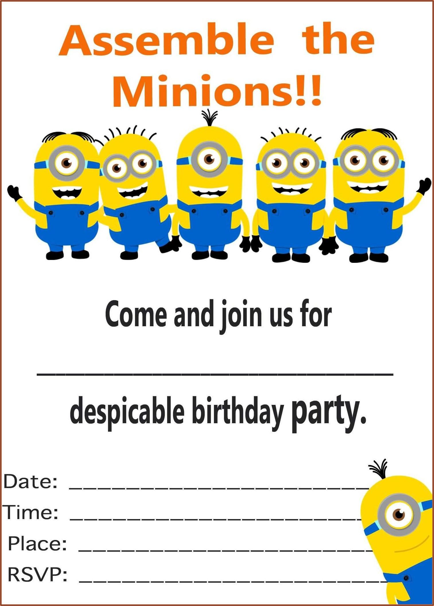 Birthday Invitation Card Blank Template