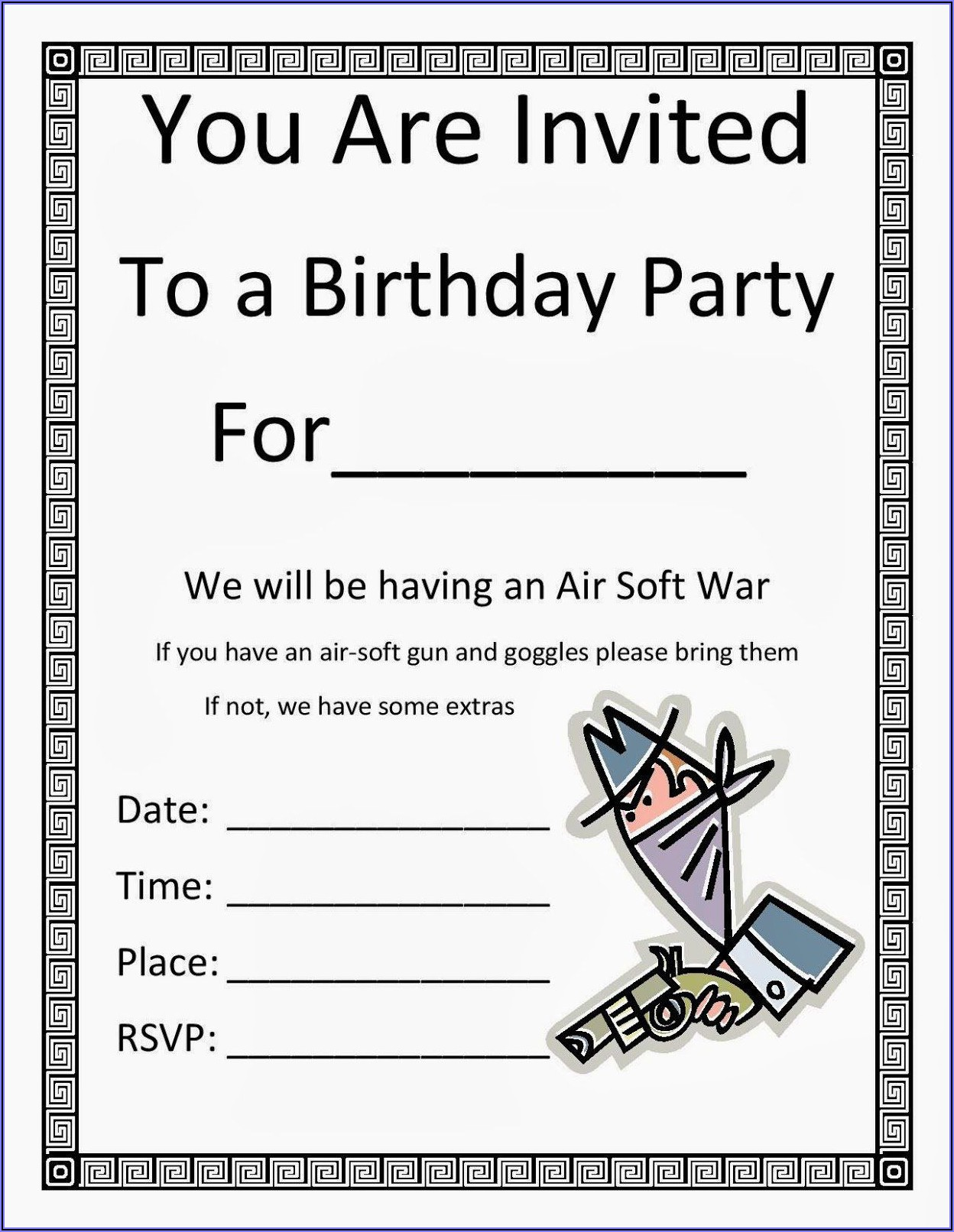 Birthday Invite Template Free