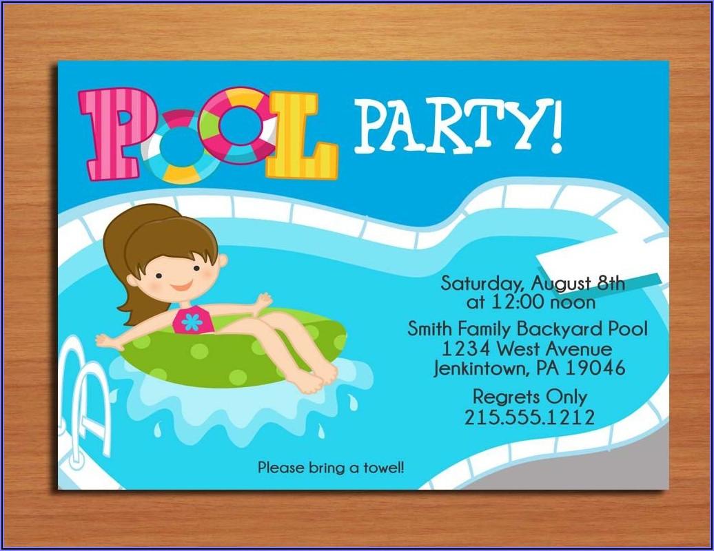 Birthday Pool Party Invitation Template