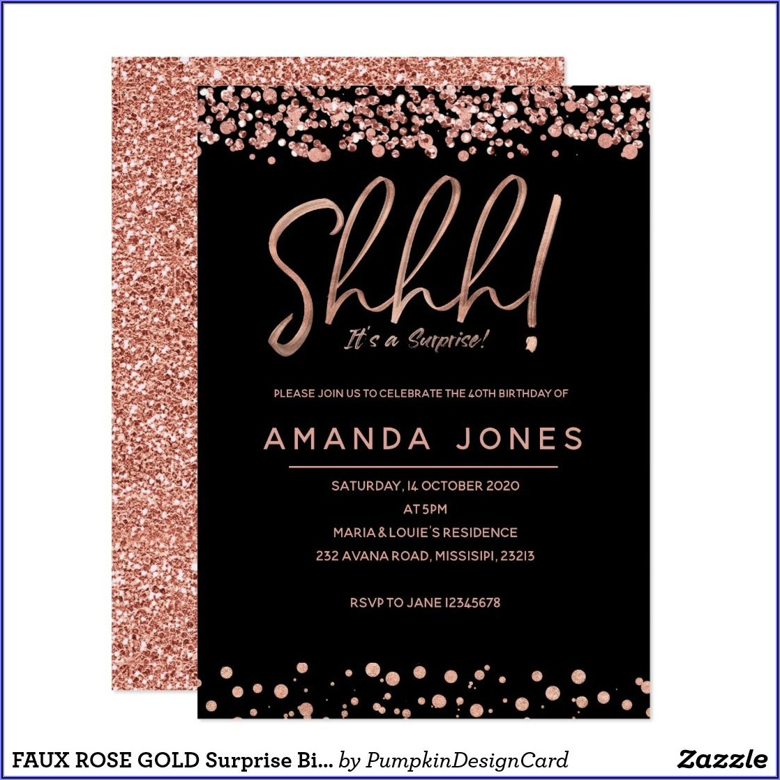 Black And Rose Gold 40th Birthday Invitations