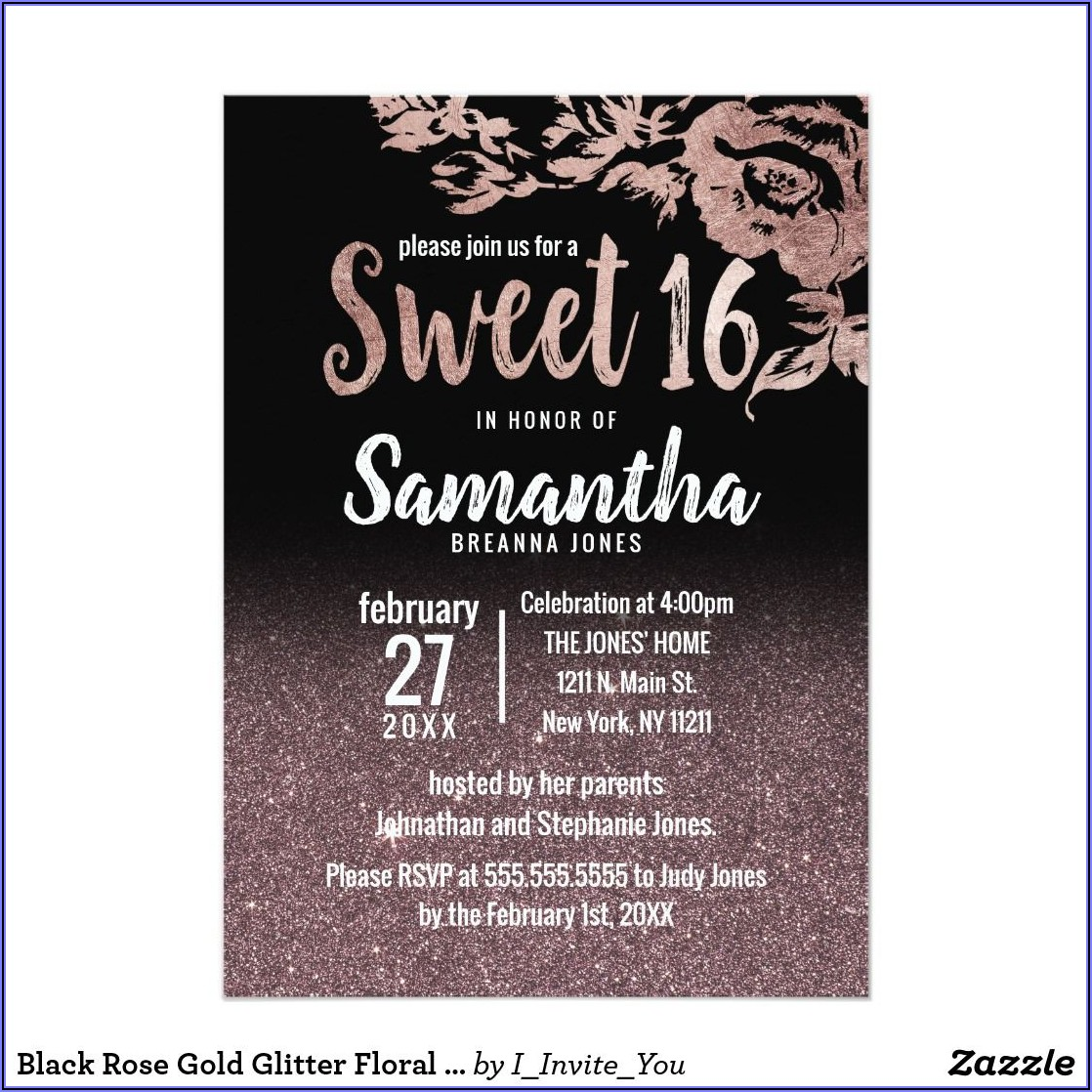 Black And Rose Gold Birthday Invitations