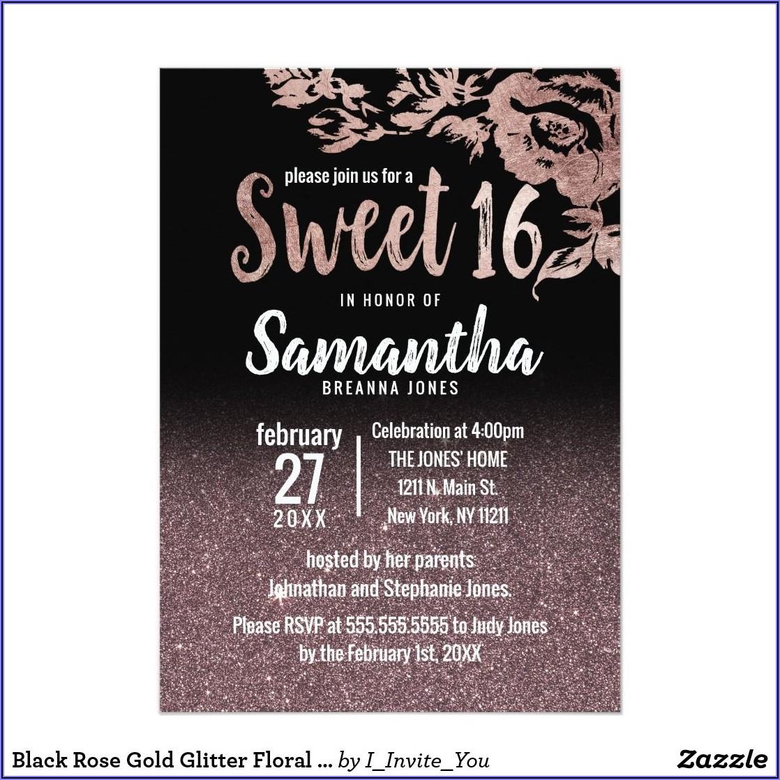 Black And Rose Gold Birthday Invitations