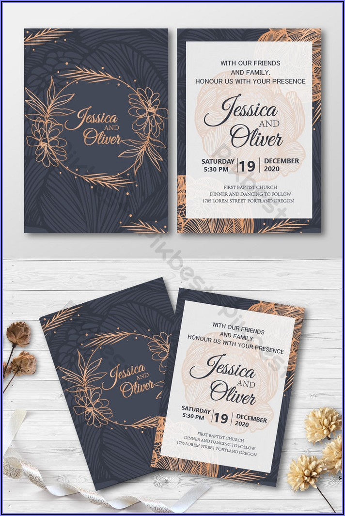 Black And Rose Gold Invitations Free