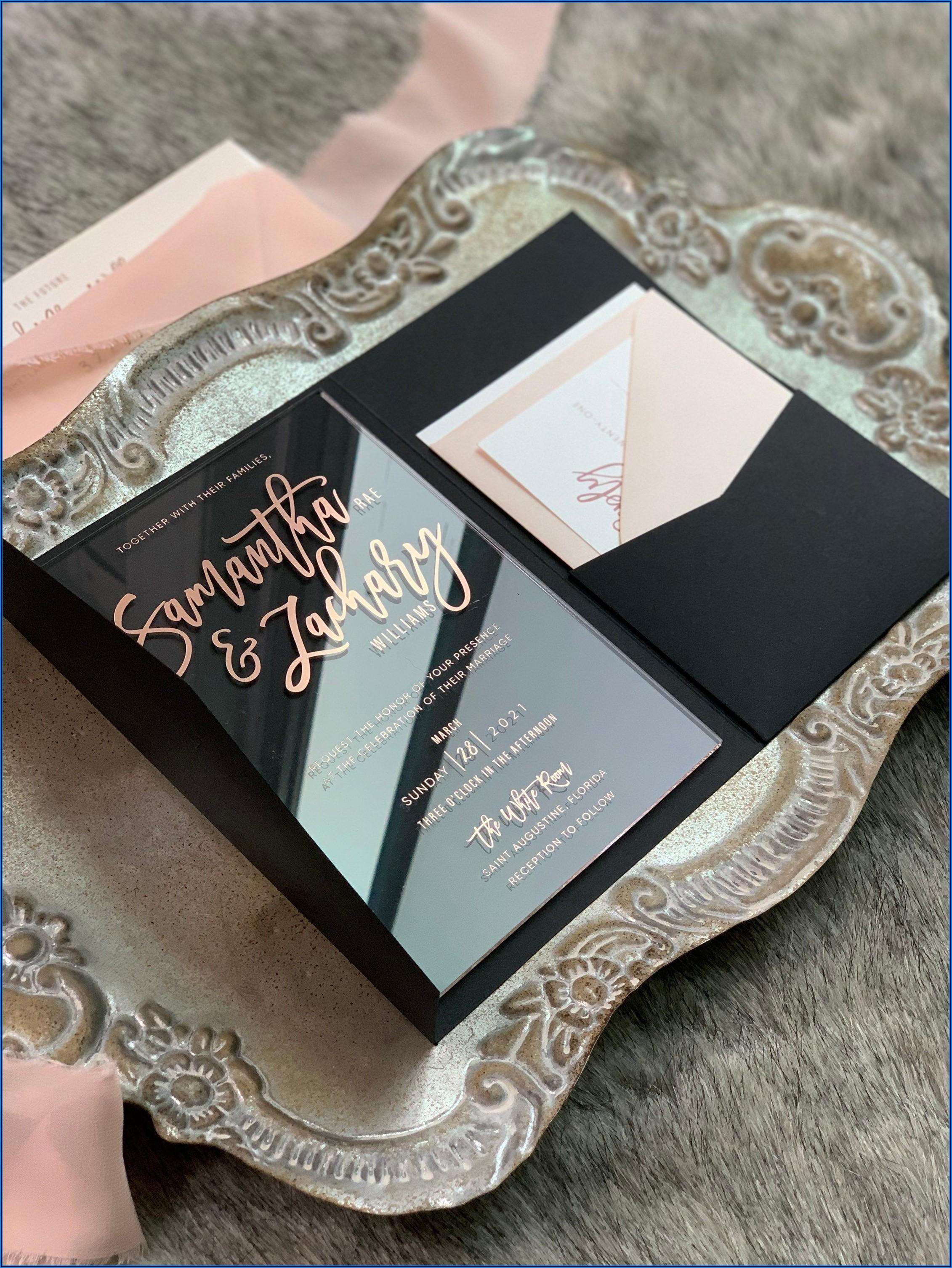 Black And Rose Gold Wedding Invitations