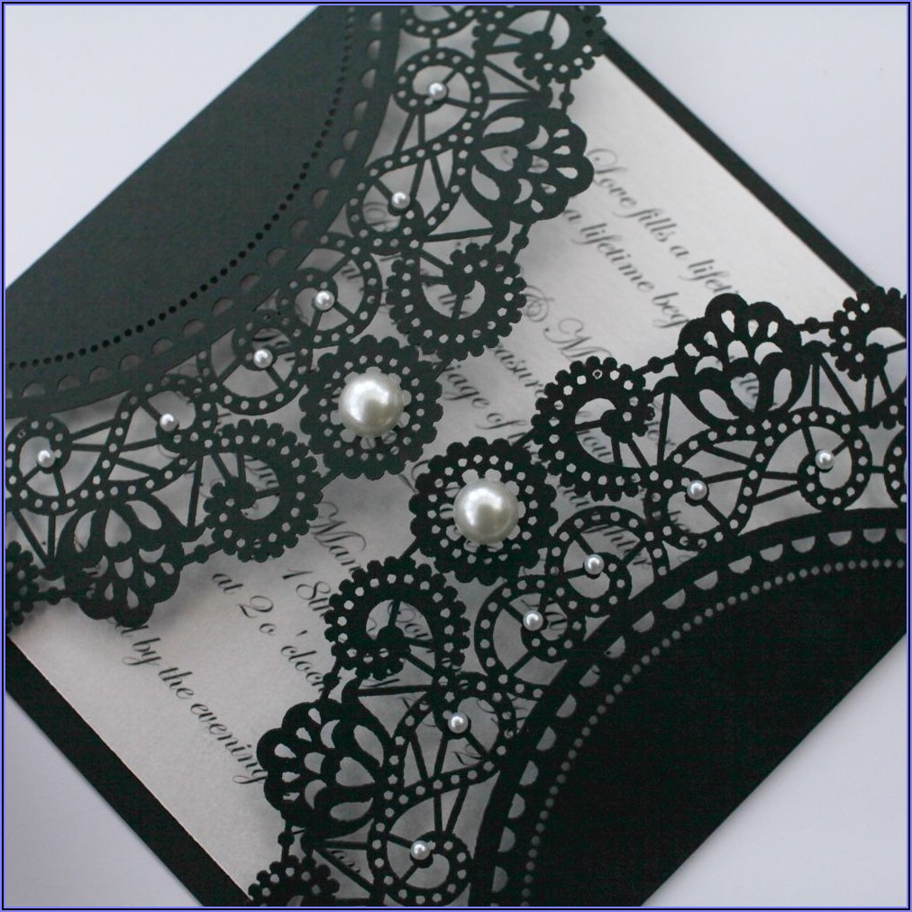 Black Lace And Pearl Wedding Invitations