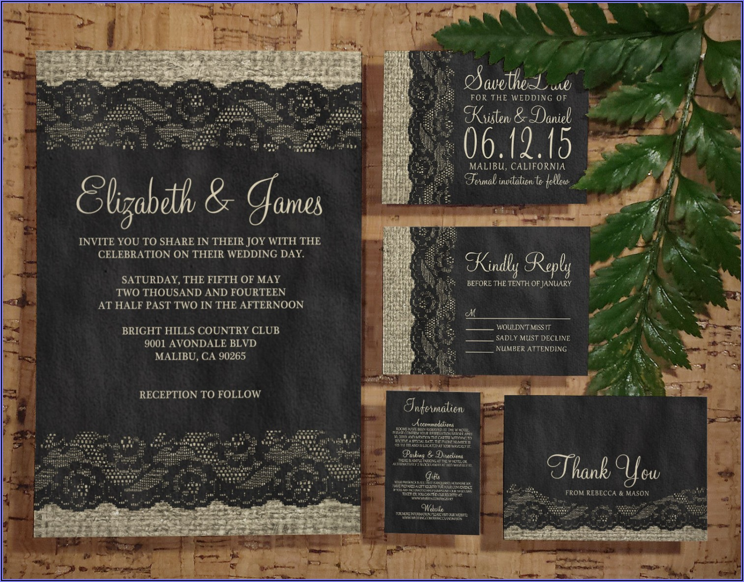 Black Lace Wedding Invitations