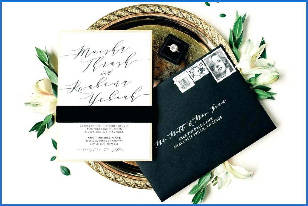 Black White And Rose Gold Wedding Invitations