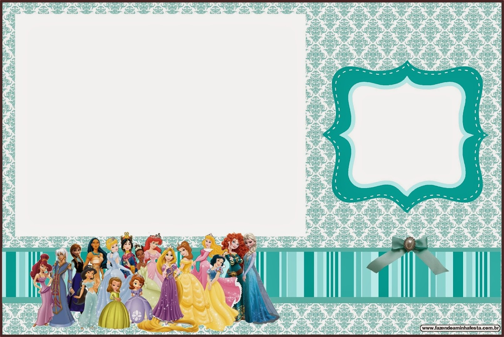 Blank Disney Princess Invitations