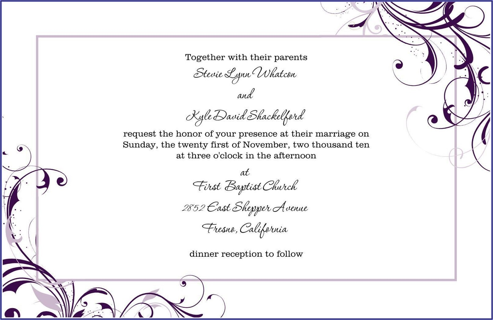 Blank Free Wedding Invitation Templates For Word