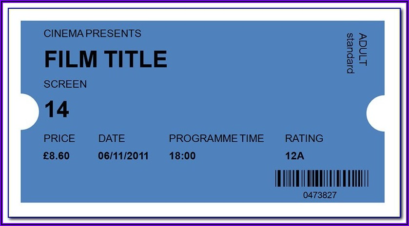 Blank Movie Ticket Stub Template