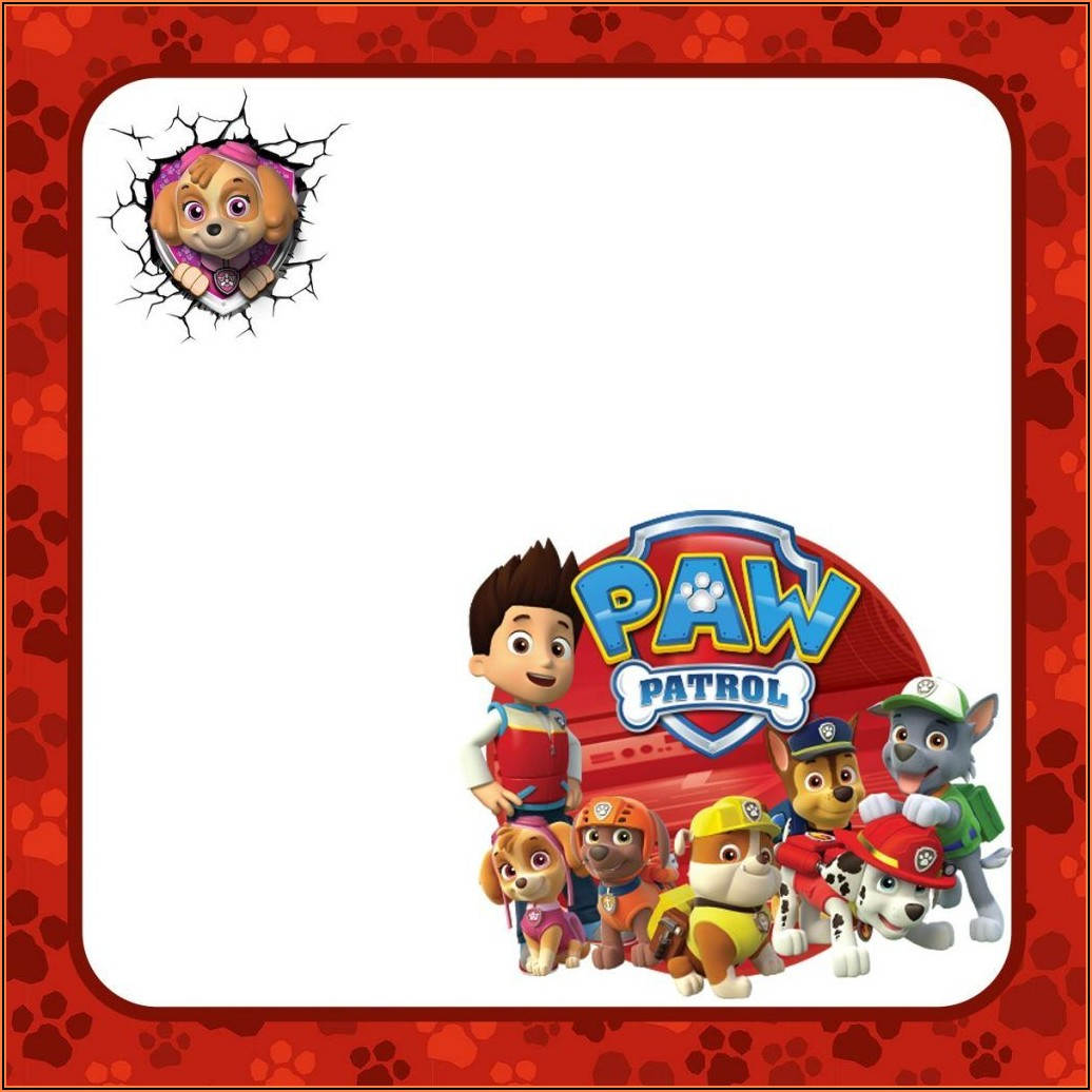 Blank Paw Patrol Birthday Invitations